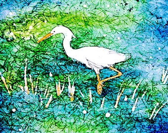 Beach art work, egret heron art, watercolor giclee print, beach cottage decor, shore bird art, matted, CHOOSE SIZE 11x14 or 8x10 white matte