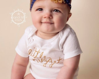 Gold Baby Headband, Navy Headband, Infant Headband, Newborn Headband, Children's Headband, Flower Headband,Baby Girl Headband,Gold Polka Dot