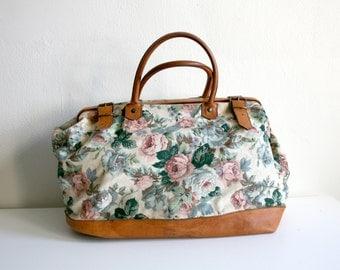 SALE Floral Cotton Canvas Duffle Bag