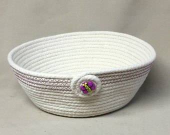 Coiled Clothesline Bowl, Hot Pink Accents