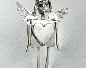 Sterling Silver Angel Jewelry - Angel Havannah Has Heart - Sterling And PMC Angel Heart Jewelry - Empowerment - Art Jewelry Pendant - 1690