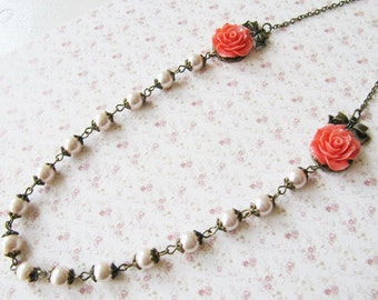 Apricot flower necklace, beaded pearl necklace, bronze vintage style jewelry, for her, romantic jewelry, Europe