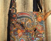 Cross Body Messenger Bag with zipper closure and lots of pockets - Vintage blue, red and green paisley