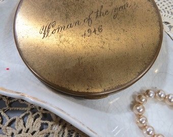 Vintage Woman of the Year Powder Compact, Blatt & Ludwig, 1946, Vanity Collectible, Goldtone, Makeup, Mother's Day