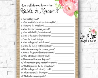 How Well Do You Know the Bride and Groom- Wedding Shower Game - Bridal Shower Game - INSTANT DOWNLOAD - Printable - Burlap - Pink Flowers