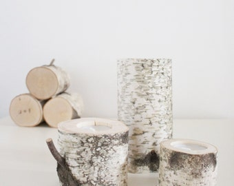 natural white birch wood candle holders - set of 3, log candle holders,  rustic wooden candle holders, tree branch candle holders