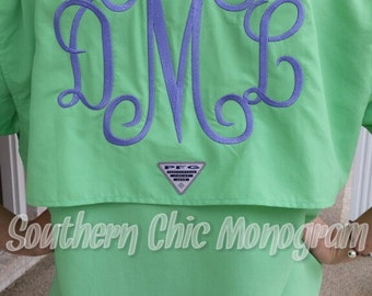 Columbia Brand Monogrammed PFG Fishing Shirt Jumbo large Monogram