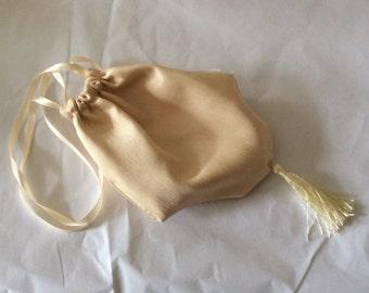 Regency Reticule,Bag. Victorian. Jane Austen. Cream Faux Silk.