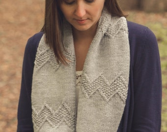 PDF file KNITTING PATTERN for worsted weight infinity cowl-chevron design