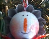 Tin Snowman 2x2 Handpainted and handmade Christmas