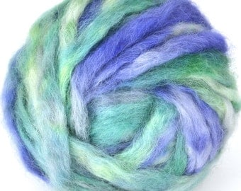 Wensleydale Roving Spinning and Felting Fiber Hand Dyed Farm Fiber 4.6oz Colorway- Sea Side