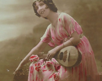 Vintage French Postcard - Woman in Pink with a Mandolin