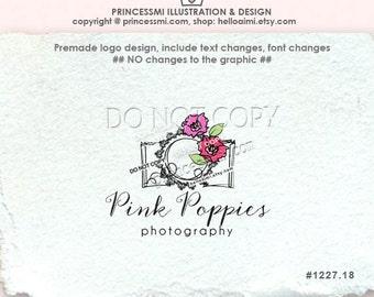 1227-18 poppy camera logo, poppies logo, camera logo,  photography logo, photographer logo, watermark design, hand drawn camera logo,
