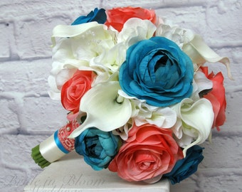 Coral turquoise wedding bouquet