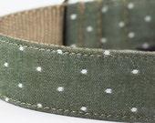 Chambray Olive Dot Dog Collar
