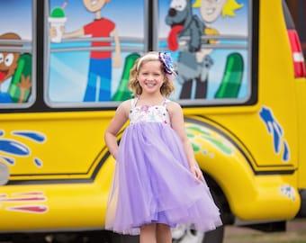 Girls Reverse Knot Tutu Dress Lavender Tulle Skirt Sizes 3M through 8
