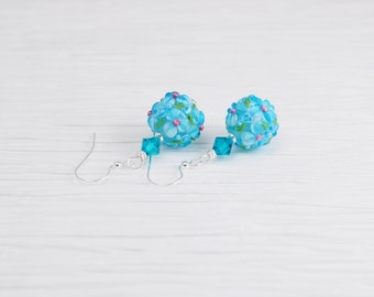 Lampwork Earrings, Aqua Earrings, Flower Earrings, Blue Lampwork Earrings, Flower Jewelry, Floral Earrings, Blue Earrings, Bright Earrings