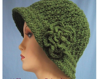 CLEARANCE PRICED - Cloche Hat w/ Flower - Chemo Cap - Size Large - Hand Crocheted - Soft Acrylic Yarn - Olive Color - Handmade - Nice Gift