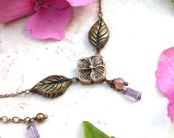 Hydrangea Necklace, Pink Flower Pendant, Garden Jewelry, Rose Quartz, Amethyst, Floral Garden Necklace Hydrangea Flower Jewellery Hydrangea