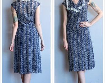 1930s Dress // Leaf Eyelet Cotton Dress // vintage 30s dress