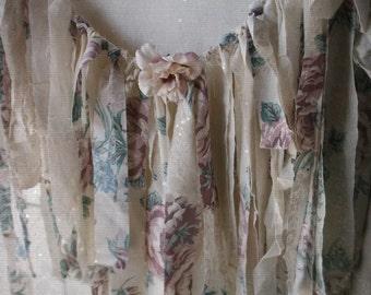 Shabby Cottage Garland Banner . Boho Romance Shabby Wall Decor. Photo Prop. Weddings. Birthdays.Valance. Mauve pink Teal