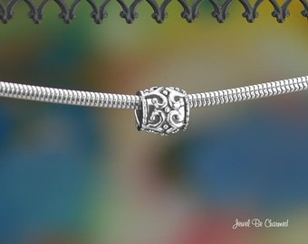 Ornate Scrolled Large Hole Spacer Bead .925 Solid Sterling Silver