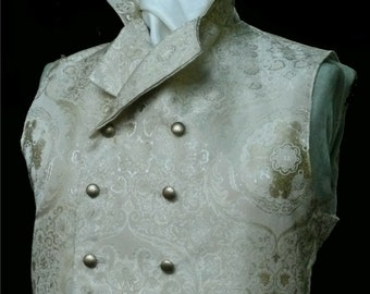 Mans English Regency Wedding Vest Double Breasted Grooms Waistcoat in Cream/Gold Silk Brocade