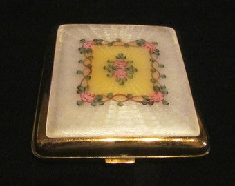 Vintage Guilloche Cigarette Case 1930s Gold Plated LaMode Compact Card Case Art Deco
