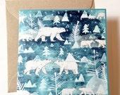 Ice Bears   Square Blank Greeting Card