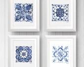 Azulejo Portuguese tile art - Talavera tile - Mexican Tile - Tile Art Print Set of 4 - Blue and white tile art painting - Pattern Tile Art