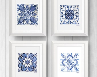 4 Mexican Talavera Tile Art Prints, Tile Wall Art Bundle