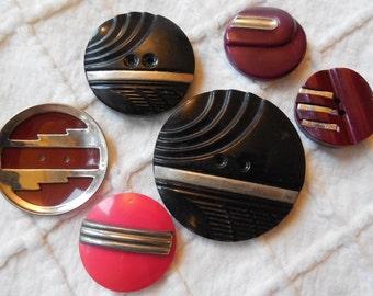 6 Vintage Art Deco Celluloid Buttons Metal Trim