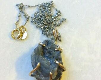 CHALCEDONY DRUZY//silver & gold necklace