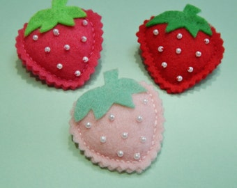 Strawberry Felt Brooch Pin Available in 3 colors Pink Red and Light Pink
