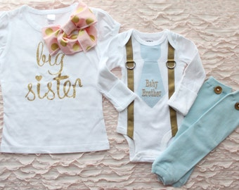 Big Sister & Newborn Baby Boy Coming Home Outfit Set of up to 3 Items. Personalized Baby Brother Tie and Suspender Bodysuit and Leg Warmers