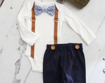 Newborn Baby Boy Coming Home Outfit Set up to 4 Items. Bow Tie and Suspender Bodysuit, Navy Blue Pants & Knit Newsboy Hat Holiday Tie Outfit
