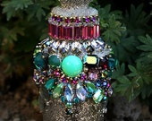 RESERVED Small Jeweled Encrusted Embellished Decorative Vintage Crystals Rhinestones Altered Bottle Original Art -Garden Fairy Pixie Bottle