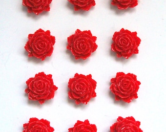 12 pcs Red Rose Cabochons, Resin Cabochons, Resin Flower, Red Flower, Red Cabochon, Cabochon Flower, Bright Red Flower, Flat Backed Cabochon