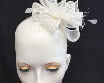 Bridal Ivory white sinamay fascinator  headband fixing ideal weddings and races