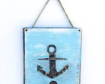 Boat Art Metal Anchor on Reclaimed Wood Lake House Beach House Coastal Beach Kids Room Beach Art Beach Baby Nursery Baby Shower Mangoseed