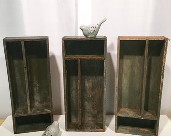 3 Vintage Green Distressed Painted Wood Divided Boxes