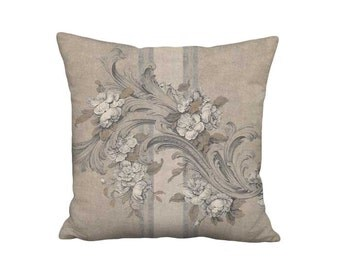 Pillow Cover - Pillow - Flowers and Scrolls French Country Grain Sack Linen Cotton 16x 18x 20x 22x 24x 26x 28x Inch Neutral Rustic Cushion
