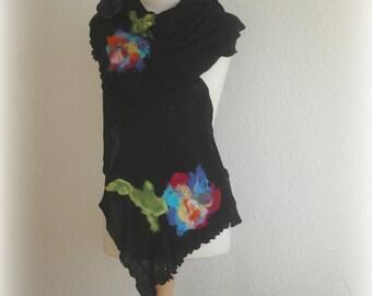 LINEN Black Scarf Wraps. Pure Linen Womans Scarf.  Knitted With Felt Flower Application. Eco Friendly Fibre Art