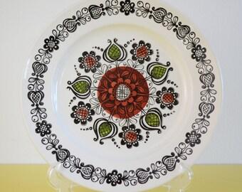 SALE Kathie Winkle Broadhurst Vintage Dinner Plate, SALE, 1960s Mid Century Dinner Plate, Ironstone Broadhurst Ceramic Plate, Hand Painted