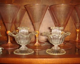 Vintage Venetian Candlesticks, Pr Murano Glass Candlesticks. Art Glass Candle Sticks, Venetian Glass Candlestick. Blown Glass Candle Holders