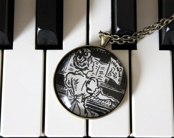 piano teacher thank you gift idea - Betsy Tacy Tib book jewelry - Maud Hart Lovelace book necklace - music pendant necklace
