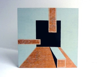 Architectural modern art painting, original one-of-a-kind, mid century modern, wood block painting