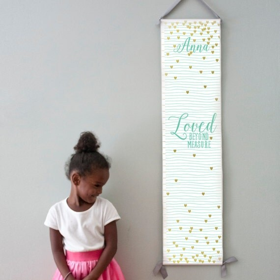 "Custom/ Personalized mint striped and gold hearts ""Loved beyond measure"" canvas growth chart for girl's room/nursery"
