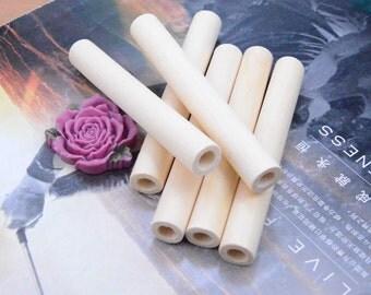 10 Wood, Natural Wood Tube, Long Unfinished Tube, Original wooden tube wood 100x13mm