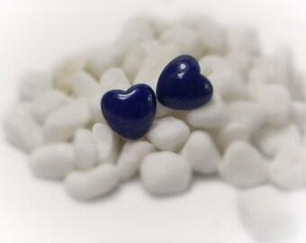 Heart Jewelry Hypoallergenic Pierced Post Earrings Gemstone Heart Earrings Heart Studs Purple Earrings Heart Shaped Gemstone - 13073